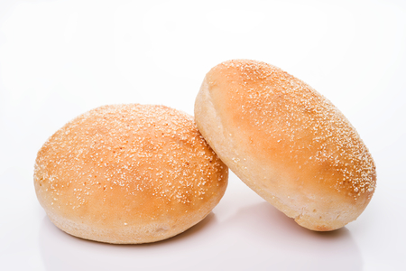 Sesame bread buns isolated on white background Stock Photo