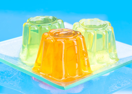 colored gelatins on blue background