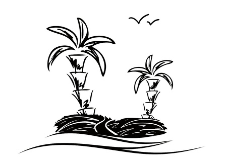 illustration of island with two palms