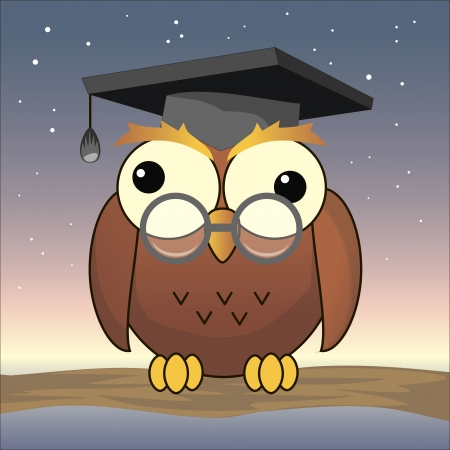 illustration of funny owl with square cap Vector
