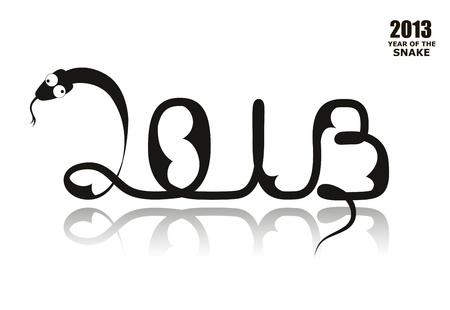Black silhouette of New Year Snake 2013 Stock Vector - 14371111