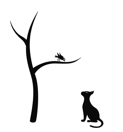Black isolated silhouette of cat and bird Vector