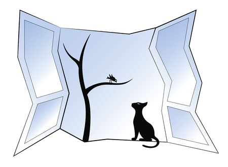 Black silhouette of cat and bird on the window Vector