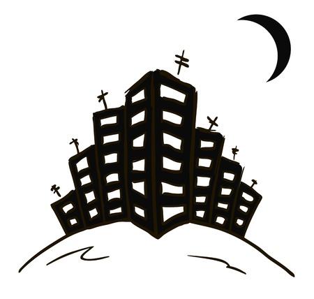 夜の街のいくつかの住宅や月を描画