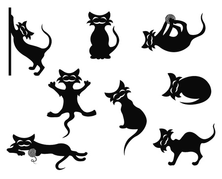Abstract black silhouettes of crazy artful cats