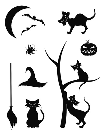 A collection of detailed Halloween beautiful silhouettes Vector
