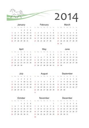 馬記号ヨーロッパ 2014 年ベクトルのカレンダー