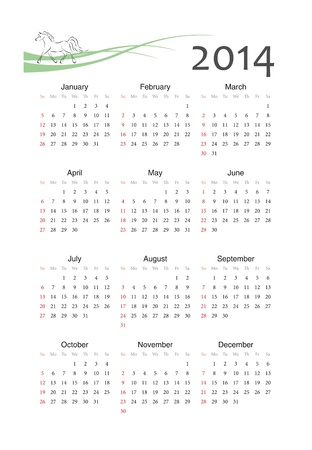 European 2014 year vector calendar with horse sign