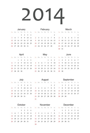 Simple european 2014 year vector calendar Stock Vector - 17629854