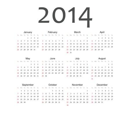 単純なヨーロッパ 2014 年ベクトル カレンダー  イラスト・ベクター素材