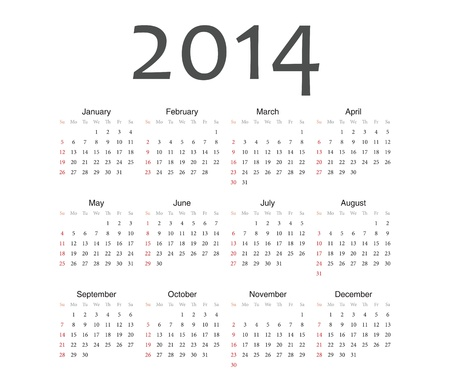 Simple european 2014 year vector calendar Stock Vector - 17774978