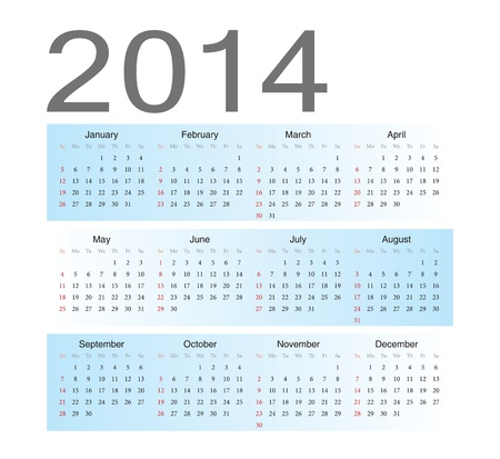 Simple blue european 2014 year vector calendar Stock Vector - 17775023