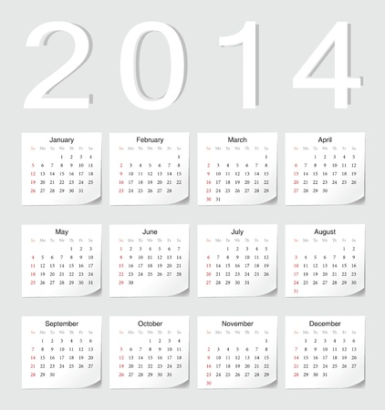 影の角度を持つヨーロッパ 2014年ベクトル カレンダー