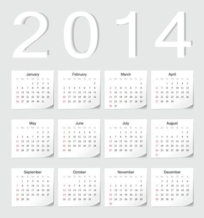 European 2014 vector calendar with shadow angles