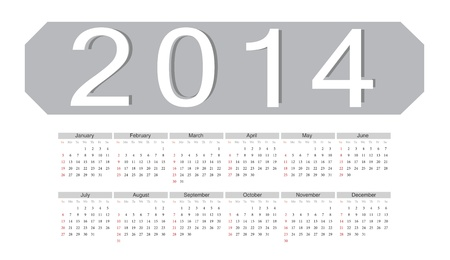 Simple grey european 2014 year vector calendar Stock Vector - 17775017
