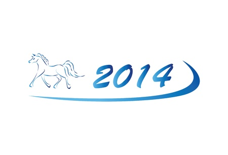 Blue vector illustration of horse icon 2014