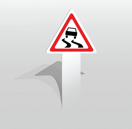 Vector illustration of paper sticker with slippery road sign Stock Vector - 17775043