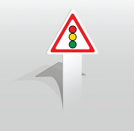 Vector illustration of paper sticker with traffic lights sign Stock Vector - 17775037