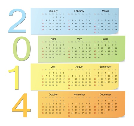 European 2014 color vector calendar with vertical numbers Stock Vector - 17775025