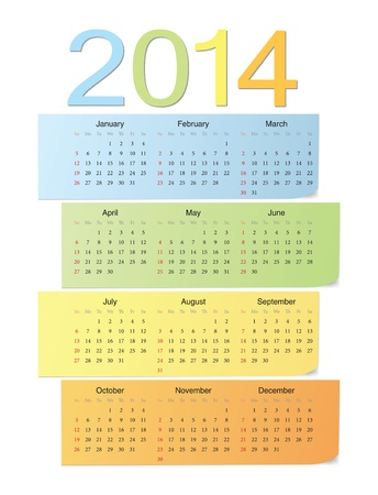 European school 2014 color bright vector calendar  Stock Vector - 17774984