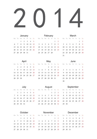 Simple European 2014 year  calendar Stock Vector - 17929315