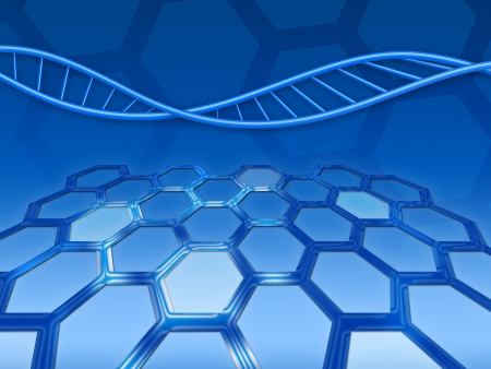 Blue abstract background with DNA and honeycomb texture photo
