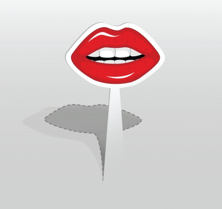 illustration of paper sticker with red lips Stock Vector - 17929309