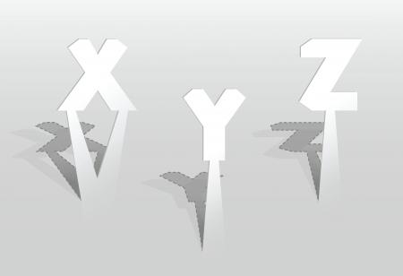 XYZ の文字のイラスト