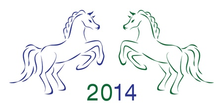 Two horses 2014 Stock Vector - 18257386