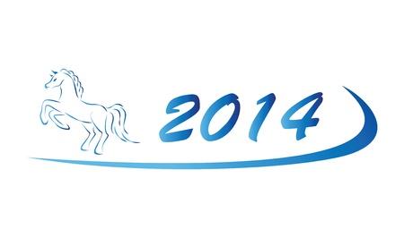 Blue illustration of horse icon 2014