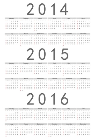 Simple european 2014, 2015, 2016 year calendar