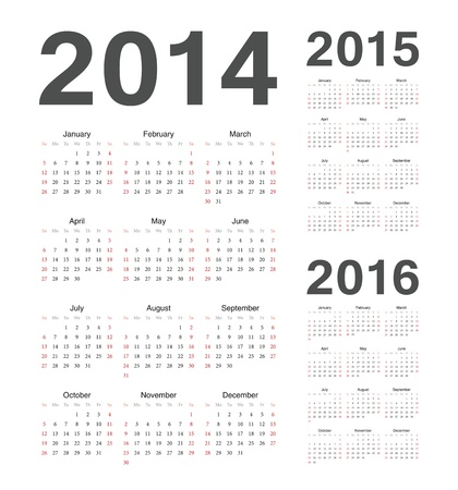 Simple european 2014, 2015, 2016 year calendars