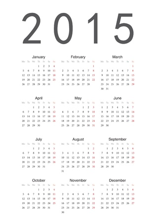 Simple european 2015 year calendar Vector