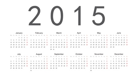 Simple european 2015 year calendar Stock Vector - 18415370