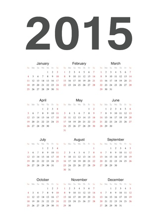 Simple european 2015 year calendar Stock Vector - 18415386