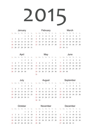 Simple european 2015 year calendar Stock fotó - 18415385