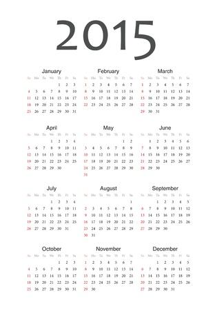 Simple european 2015 year calendar Stock Vector - 18415385