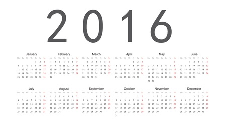 Simple european 2016 year calendar Stock Vector - 18415391