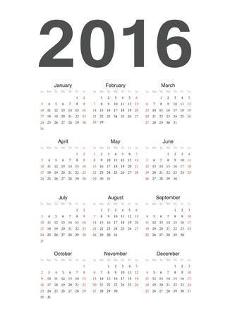 単純なヨーロッパ 2016 年予定表  イラスト・ベクター素材