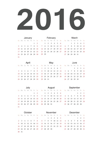 Simple european 2016 year calendar