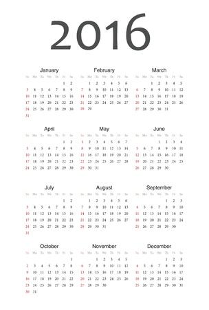 Simple european 2016 year calendar Stock Vector - 18415378