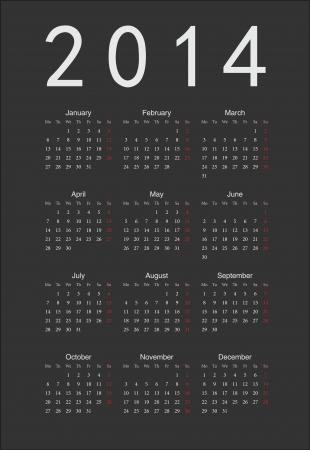 Simple black european 2014 year calendar Vector