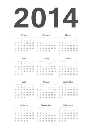 簡単なスペイン語の 2014 年のカレンダー  イラスト・ベクター素材