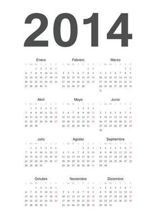 Simple spanish 2014 year  calendar Vector