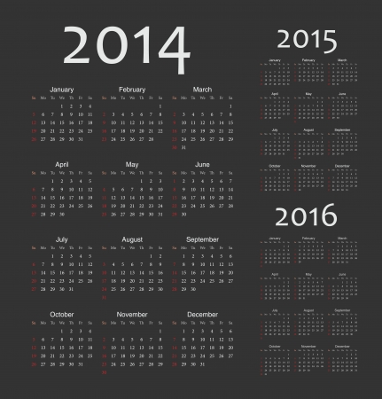 event planner: Simple european 2014, 2015, 2016 year  calendars