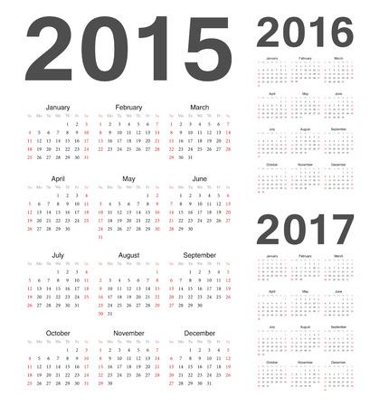 単純な欧州 2015 年 2016 年、2017 年のベクトルのカレンダー