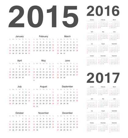 Simple european 2015, 2016, 2017 year vector calendars Illusztráció