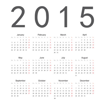 Simple european 2015 year vector calendar Vector