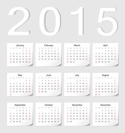 影の角度を持つ欧州 2015年ベクトル カレンダー