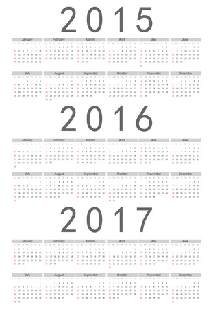Simple european 2015, 2016, 2017 year vector calendar Vector